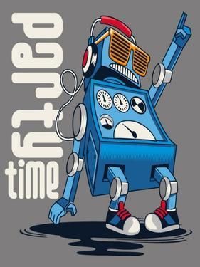 Cute Vintage Dancer Robot, Party, Vector by braingraph