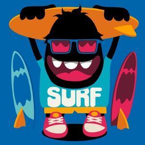 Monster Surfer Vector Character Design by braingraph