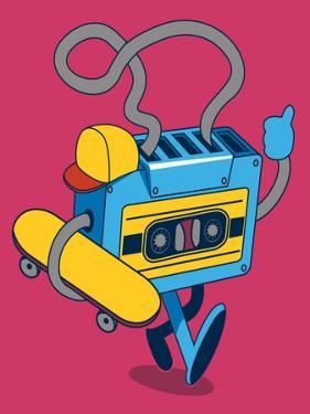 Retro Cassette, Skater Character Design for Tee by braingraph