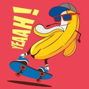 Skate and Cartoon Skater Banana Vector Character by braingraph