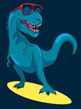 Surfer, Dinosaur, Monster Vector Design for Tee by braingraph