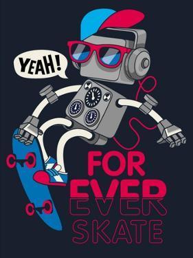 Vector Retro Robot on Skateboard, Skater by braingraph