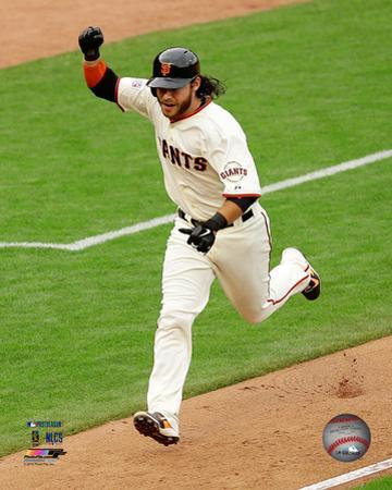 Brandon Crawford celebrates winning Game 3 of the 2014 National League Championship Series