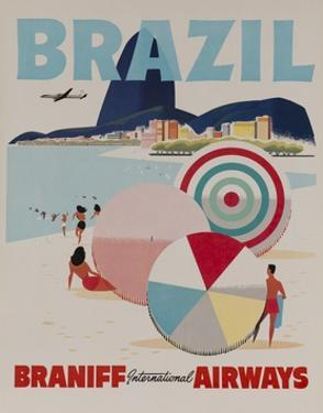Braniff Airways Travel Poster, Brazil