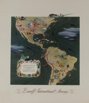 Braniff Airways Travel Poster, the Americas Route Map