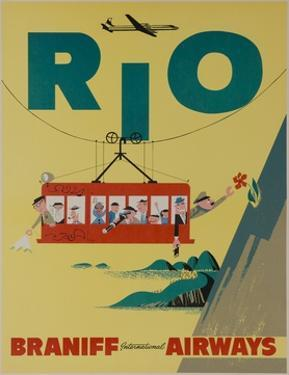 Braniff International Airways Travel Poster, Rio De Janiero Cable Car