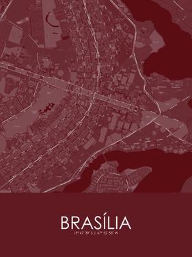 Brasilia, Brazil Red Map