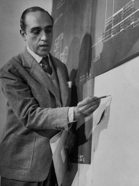 Brazilian Architect Oscar Niemeyer Discussing Design for the United Nations Headquarters Buildings