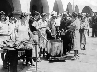 Breadline in Los Angeles Serving Soup and Bread