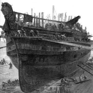 Breaking Up the Hospital Ship 'Dreadnought' at Chatham Dockyard, 1875
