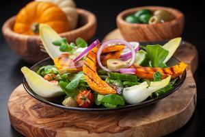 Delicious Field Salad with Grilled Pumpkin Stripes for Thanksgiving by Brebca