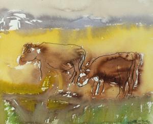 Cattle in the Meadow, 1983 by Brenda Brin Booker