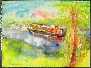 Narrow Boat on the River Lea by Brenda Brin Booker