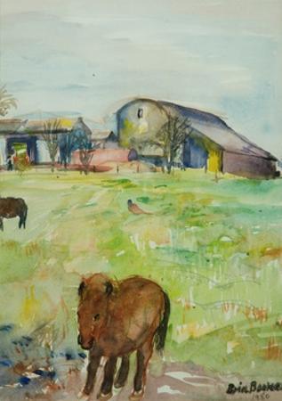 Pony in the Farm Meadow, East Green, 1980 by Brenda Brin Booker