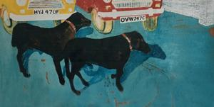Rex at the Used Car Lot, with Friend by Brenda Brin Booker