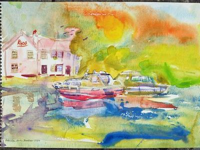 Riverside Pub with Boats