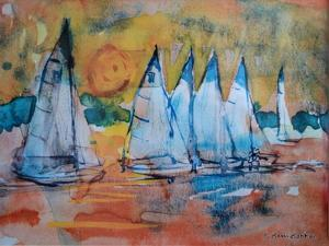 Sailboats with a Pink Sky by Brenda Brin Booker
