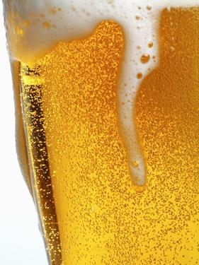 Foam Pouring over Edge of Glass of Light Beer by Brenda Spaude