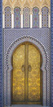 Africa, Morocco, Fes. Detail of the King's Palace Ornate Doors by Brenda Tharp