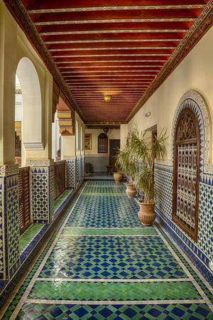Africa, Morocco, Fes. Ornate and Colorful Hallway