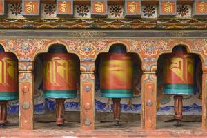 Bhutan, Paro. Spinning Prayer Wheel at the Rinpung Dzong by Brenda Tharp