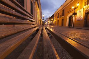 Mexico, San Cristobal de las Casas. Village street in pre-dawn light. by Brenda Tharp