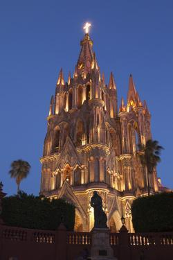 Mexico, San Miguel De Allende. Cathedral of San Miguel Archangel Lit Up at Night by Brenda Tharp