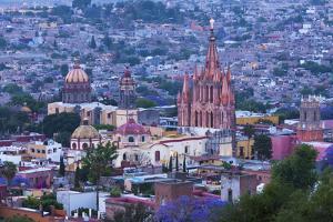 Mexico, San Miguel De Allende. La Parroquia De San Miguel Arcangel Church Dominates City at Dusk by Brenda Tharp