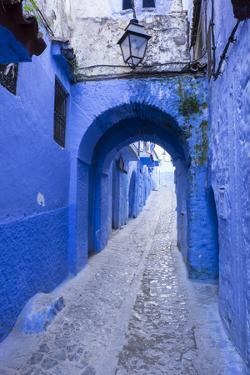 Morocco. A blue alley in the hill town of Chefchaouen. by Brenda Tharp