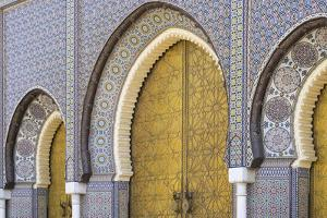 Morocco, Fes. a Detail of the King's Palace Doors by Brenda Tharp