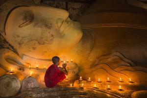 Myanmar, Bagan. Young Monk at Shinbinthalyaung Temple Reclining Buddha by Brenda Tharp