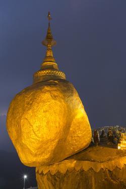 Myanmar, Bago. the Golden Rock at Kyaiktiyo Pagoda, at Twilight by Brenda Tharp