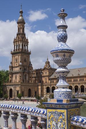 Spain, Andalusia, Seville. Plaza de Espana, ornate bridge.