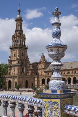 Spain, Andalusia, Seville. Plaza de Espana, ornate bridge. by Brenda Tharp