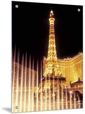 Paris Hotel and Casino's Eiffel Tower with the Bellagio Water Fountain Show, Las Vegas, Nevada, USA by Brent Bergherm