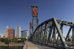 USA, Oregon, Portland. Downtown and the Hawthorne Bridge by Brent Bergherm