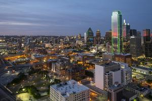 USA, Texas, Dallas. Overview of downtown Dallas from Reunion Tower at night. by Brent Bergherm