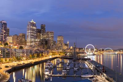 USA, Washington, Seattle. Night Time Skyline from Pier 66