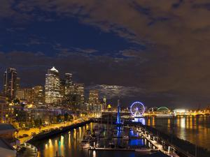 USA, Washington State, King County, Downtown Seattle, from Pier 61 overview. by Brent Bergherm