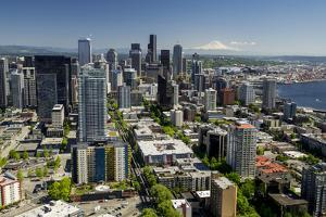 USA, Washington State, Seattle from the Space Needle on a clear day. by Brent Bergherm