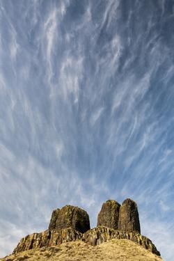 WA, Walla Walla County. Twin Sisters Monument and Streaking Clouds by Brent Bergherm