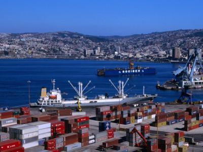 Cargo Ships in City Port, Valparaiso, Chile by Brent Winebrenner