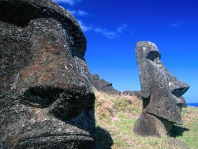 Half Submerged Traditional Moai at Rano Raraku, Easter Island, Valparaiso, Chile by Brent Winebrenner