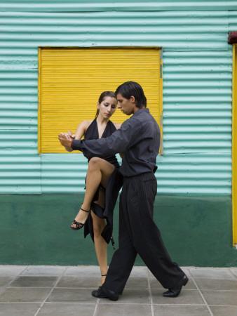 Pair of Tango Dancers Performing on Streets of La Boca