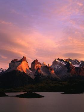 Sunrise Over Lago Pehoe and Cuernos Del Paine, Torres Del Paine National Park, Chile by Brent Winebrenner