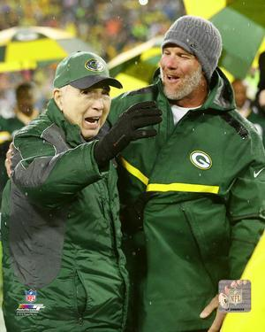 Brett Favre & Bart Starr at Favre's number retirement ceremony at Lambeau Field- November 26, 2015