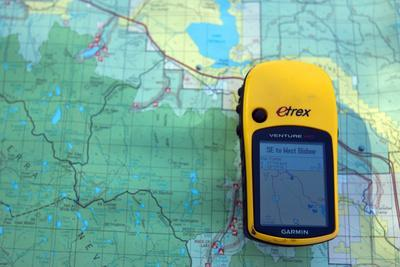 A Garmin Gps Gets Matched Up with a Map Outside of Bishop, California