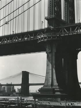 Brooklyn Bridge and Manhattan Bridge, New York, c. 1946 by Brett Weston