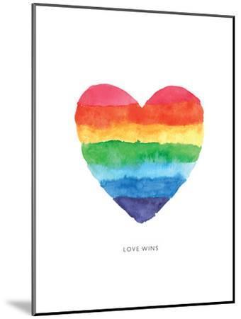 Love Wins Watercolor Rainbow Heart by Brett Wilson