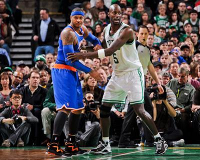 Boston, MA - January 24: Kevin Garnett and Carmelo Anthony by Brian Babineau